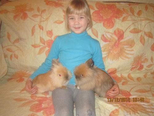 Мирослава  и кролики Ролли и Мишутка