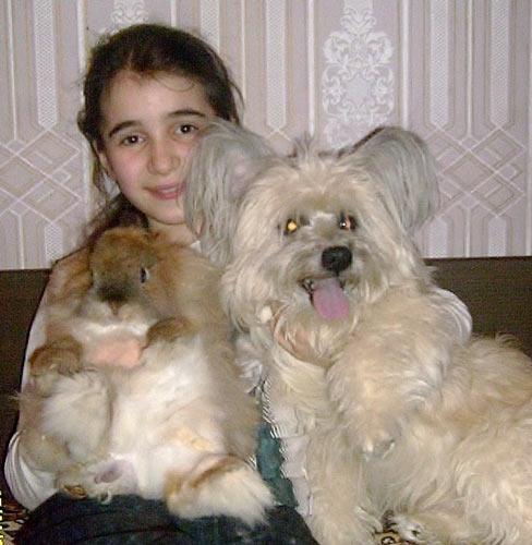 Вероника Мартынова, кролик Кеша и собачка Тимофей