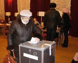 На избирательном участке.