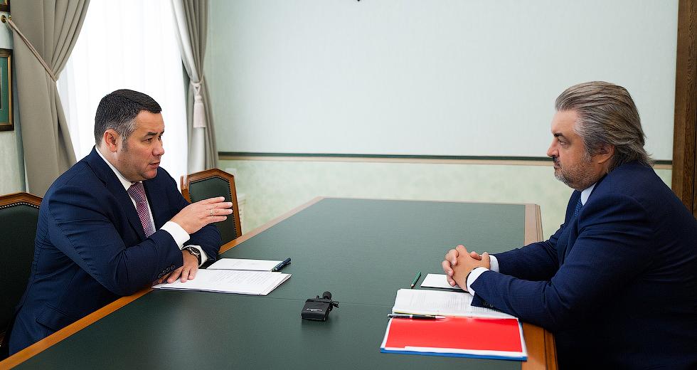 Игорь Руденя и руководитель «Почта Банка» Дмитрий Руденко обсудили повышение доступности банковских услуг в муниципалитетах Тверской области