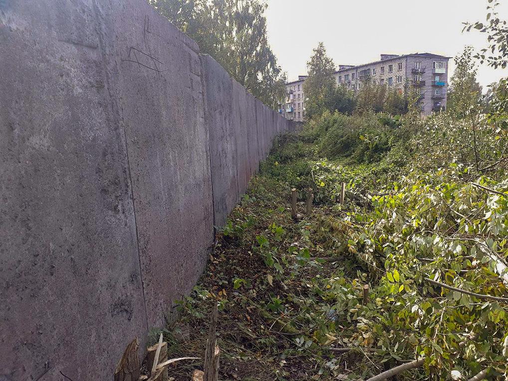 По всему периметру ограждения на расстоянии 1,5-2 метров была вырублена и очищена растительность для предотвращения перелазов через ограждение.