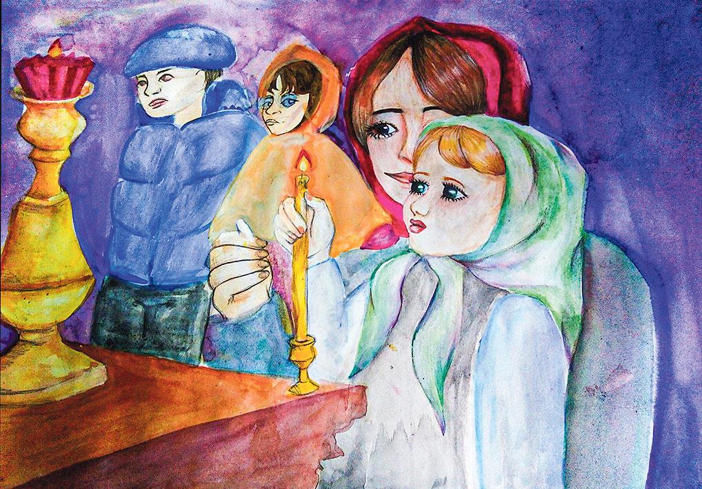 Полина Чигрина - очень одаренная и самостоятельная личность. В ее рисунке чувствуется особый трепет от первого посещения храма. Работа подчеркивает важность приобщения к традиционным христианским ценностям от матери к дочери, а открытый Богу взгляд девочки вселяет веру в лучшее и светлое, что есть в человеке.