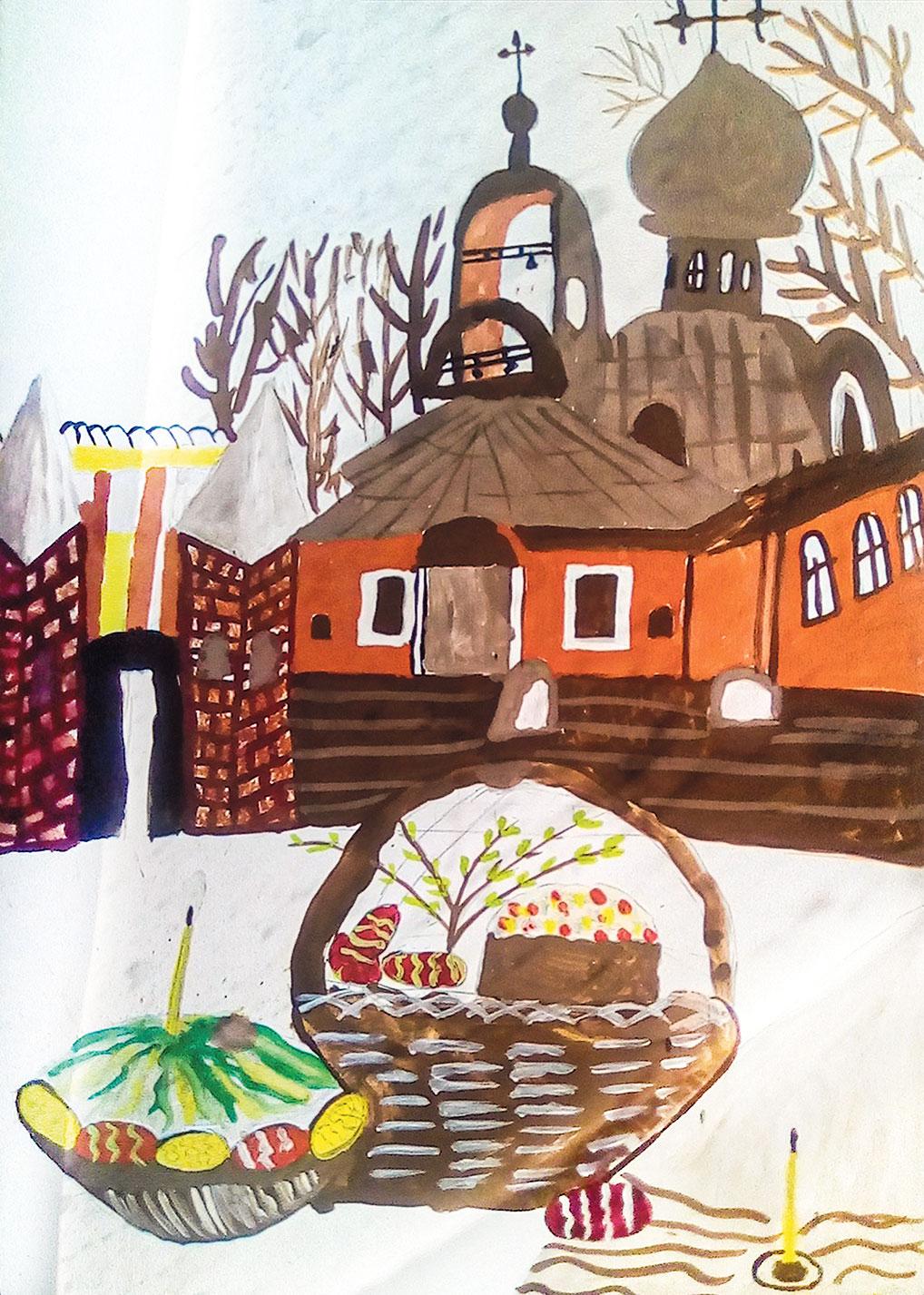 Андрей Цыганов - очень увлеченная и самодостаточная натура. Его работу характеризуют непосредственность восприятия и смелое ком-позиционное решение. Деревья будто заглянули на освящение пасхального угощения и замерли в ожидании чуда...