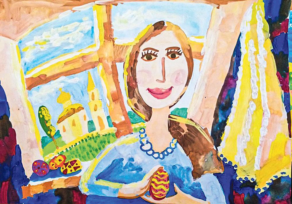 Елизавета Бакушева - яркая, разносторонняя и старательная девочка, неоднократный победитель конкурсов. Ей удалось передать образ мамы, окруженной предпраздничной суетой.