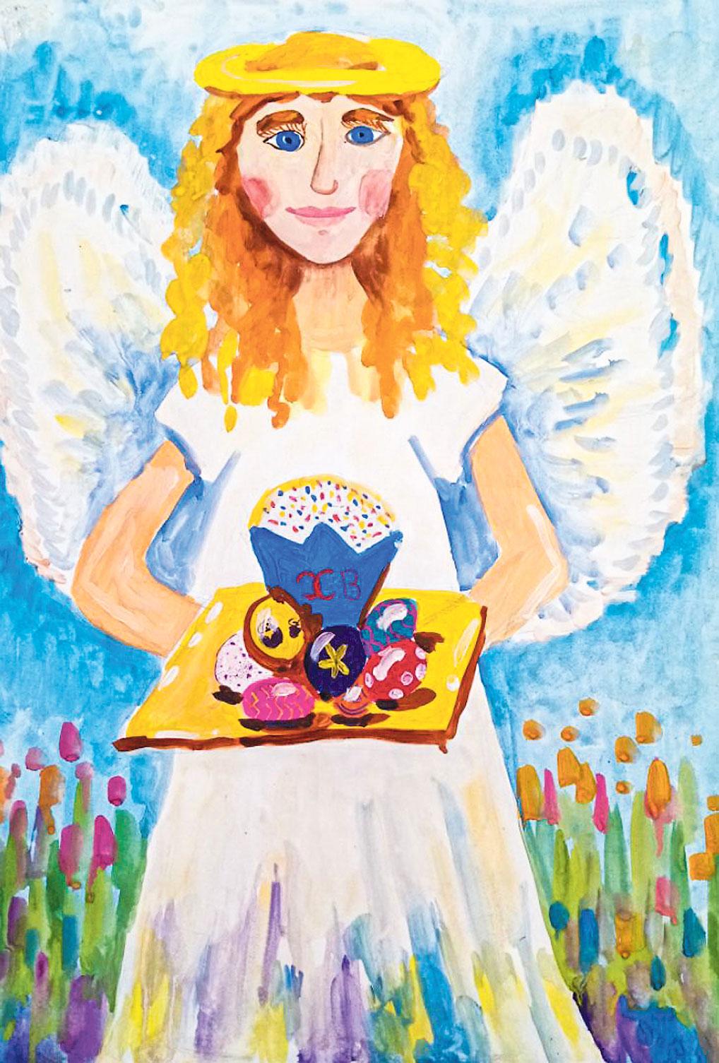 """Полина Фурса к выполнению работ подходит всегда очень ответственно и вдумчиво. Ее """"Пасхальный ангел"""" вместе с угощением дарит всем улыбку и добро."""