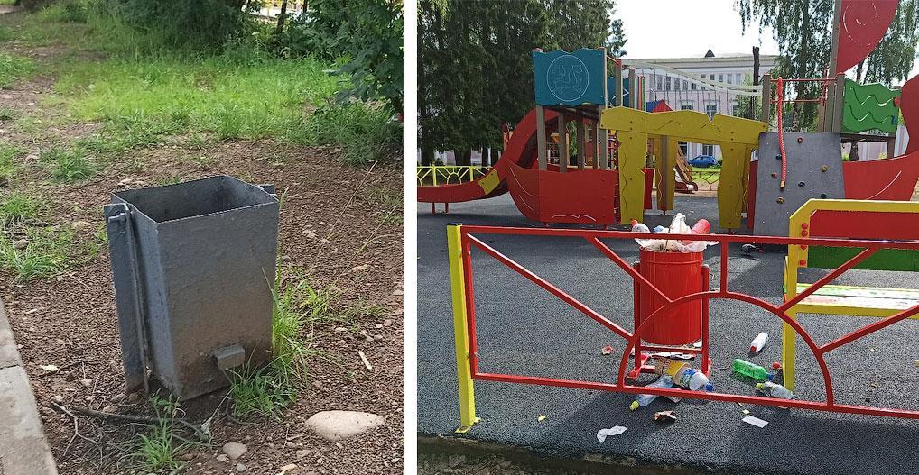 Уже на следующее утро новая площадка была завалена мусором. При этом урны, расположенные в нескольких метрах от площадки, остались пустыми.
